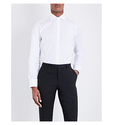 TURNBULL & ASSER Basketweave slim-fit cotton shirt (White