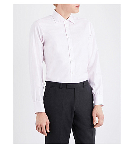 TURNBULL & ASSER Striped regular-fit cotton shirt (Pink