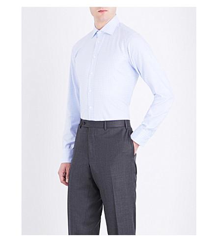 TURNBULL & ASSER Basketweave slim-fit cotton shirt (Blue