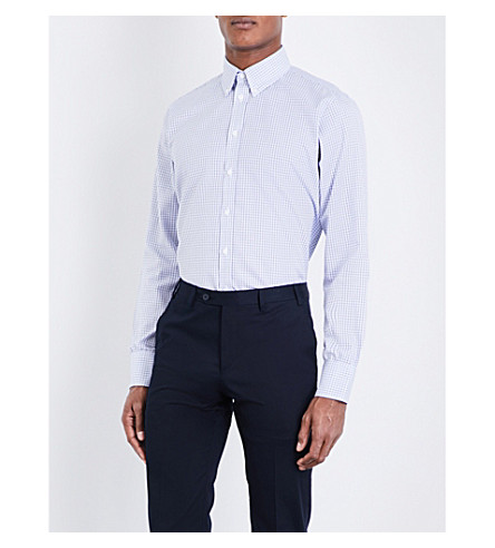 TURNBULL & ASSER Basketweave informalist-cut cotton shirt (Blue
