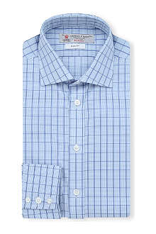TURNBULL & ASSER Micro-checked slim-fit single-cuff shirt