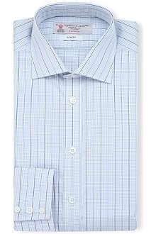 TURNBULL & ASSER Striped check-print slim-fit single-cuff shirt