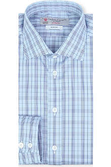 TURNBULL & ASSER Regent Prince of Wales check slim-fit single-cuff shirt