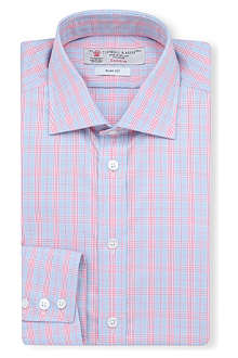 TURNBULL & ASSER Prince of Wales checked slim-fit single-cuff shirt
