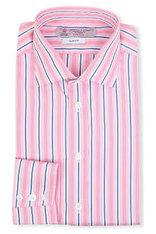 TURNBULL & ASSER Regent stripe-print slim-fit single-cuff shirt