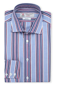 TURNBULL & ASSER Multi-striped slim-fit single-cuff shirt