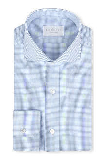 LANDINI Agnelli checked regular-fit single-cuff shirt
