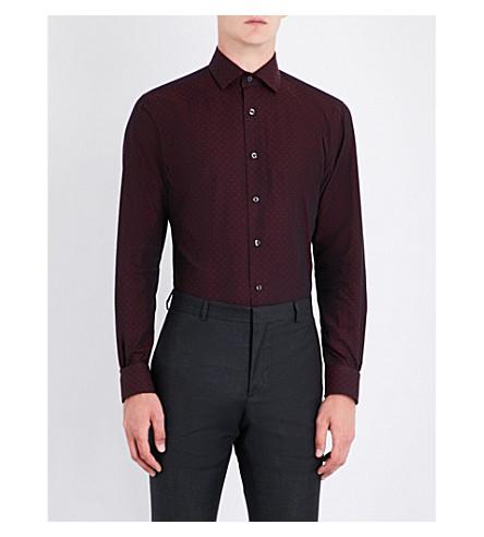 DUCHAMP Tailored-fit polka-dot pattern shirt (Burgundy
