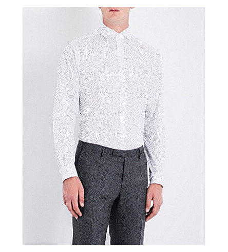 DUCHAMP Tailored-fit polka-dot pattern shirt (Grey