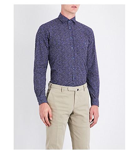 DUCHAMP Tailored-fit cross-pattern shirt (Navy