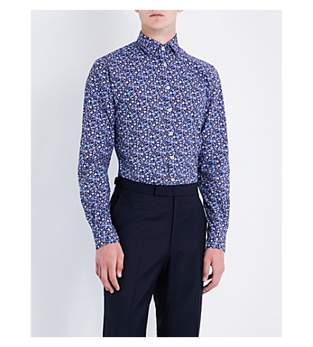 DUCHAMP Floral tailored-fit cotton shirt (Navy