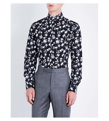 DUCHAMP Floral tailored-fit cotton shirt (Black