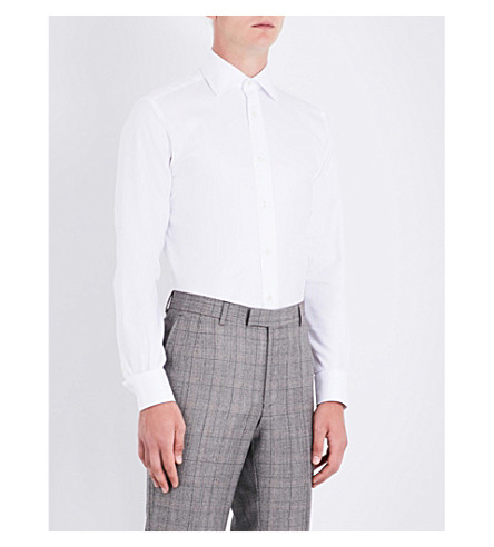 DUCHAMP LONDON Tailored-fit geometric pattern shirt (White
