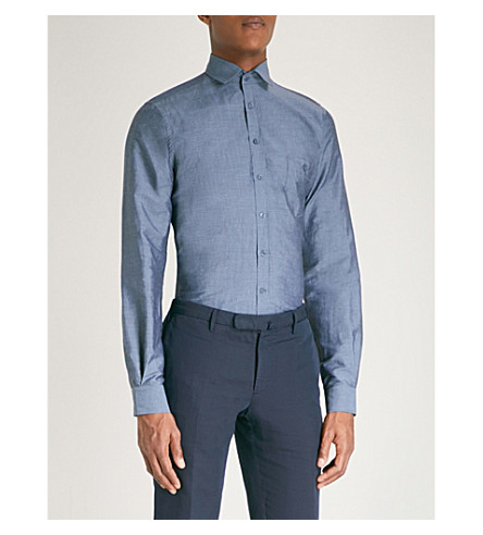 DUCHAMP LONDON Tailored-fit linen and cotton-blend shirt (Chambray