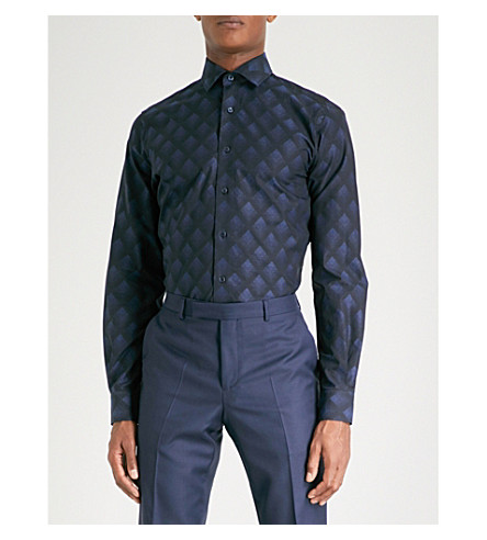 DUCHAMP LONDON Deco-patterned tailored-fit cotton shirt (Navy