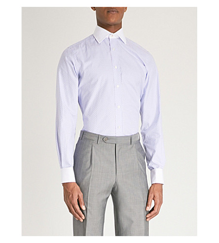 DUCHAMP LONDON Checked tailored-fit cotton shirt (Blue