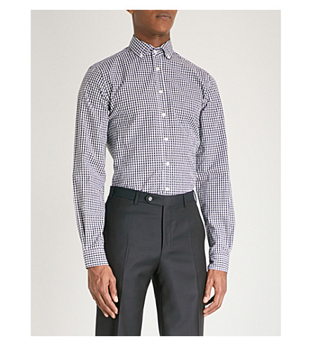 DUCHAMP LONDON Gingham tailored-fit cotton shirt (Navy