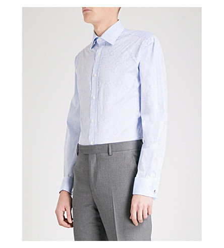 DUCHAMP LONDON Floral-jacquard tailored-fit cotton shirt (Light+blue