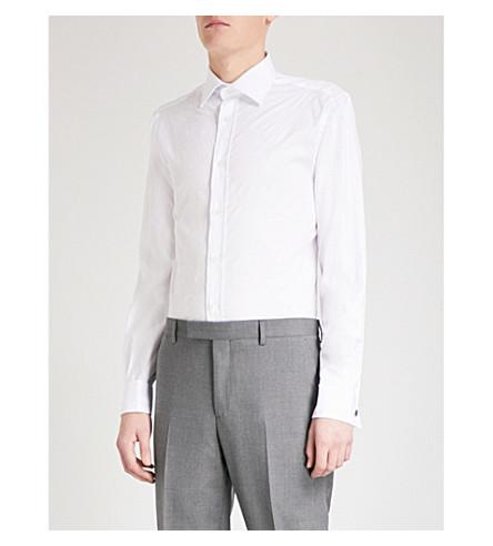 DUCHAMP LONDON Floral-jacquard tailored-fit cotton shirt (White