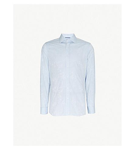 DUCHAMP Floral-print tailored-fit cotton-jacquard shirt (Blue