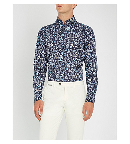 azul marino ajustada con estampado floral Camisa DUCHAMP vaquera qUwYTxS