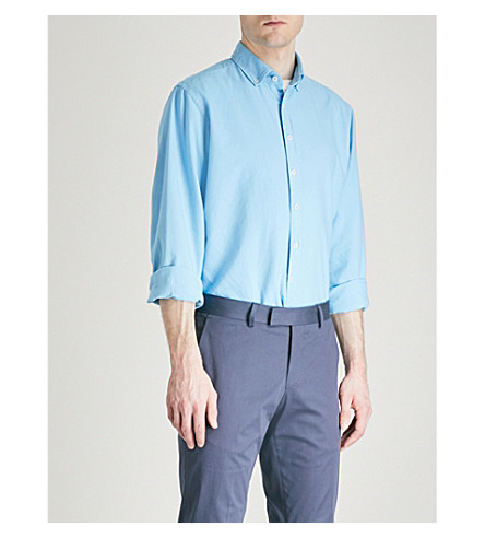 DUCHAMP LONDON Tailored-fit cotton Oxford shirt (Blue