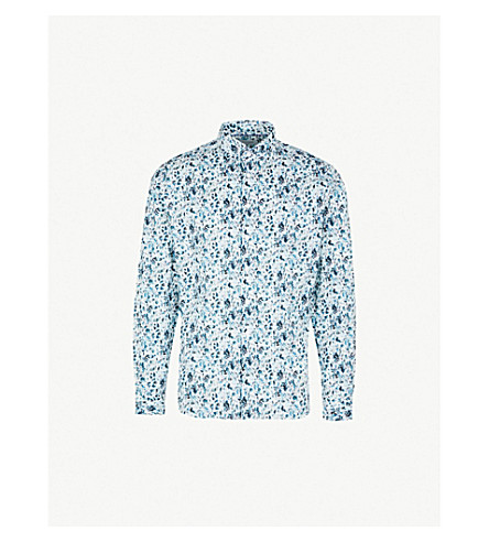 DUCHAMP LONDON Elegant floral-print tailored-fit cotton shirt (Blue