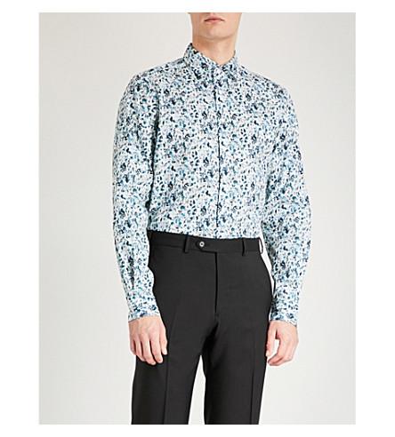 DUCHAMP LONDON Elegant floral-print tailored-fit cotton shirt (Blue