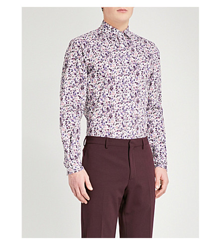 DUCHAMP LONDON Elegant floral-print tailored-fit cotton shirt (Pink