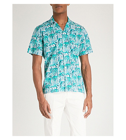 DUCHAMP LONDON Tropical-print tailored-fit cotton shirt (Green