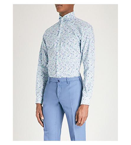 DUCHAMP LONDON Floral print tailored-fit cotton shirt (Blue