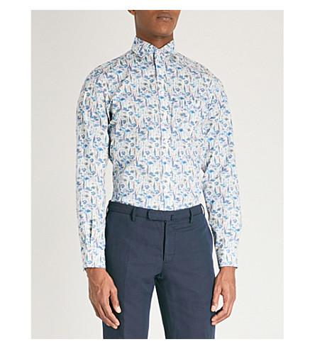 DUCHAMP LONDON Wild flowers-print tailored-fit cotton shirt (Blue