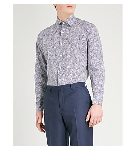 DUCHAMP LONDON Filigree-print tailored-fit cotton shirt (Navy