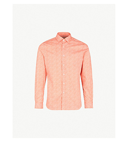 DUCHAMP LONDON Filigree-print tailored-fit cotton shirt (Orange