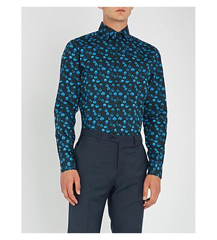 DUCHAMP 波点修身版型棉衬衫 (海军
