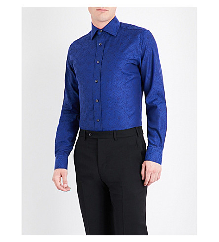 DUCHAMP Paisley-patterned tailored-fit cotton shirt (Navy
