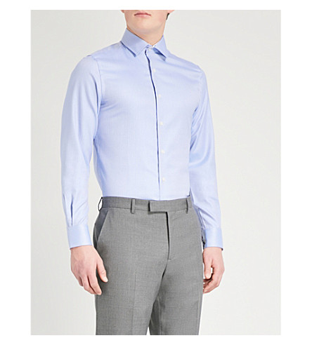 DUCHAMP LONDON Floral-collar tailored-fit cotton shirt (Light+blue