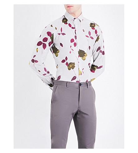 DUCHAMP Floral-print tailored-fit cotton-melange shirt (Burgundy