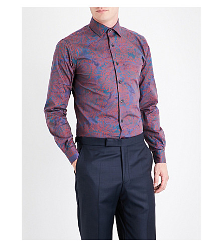 DUCHAMP Abstract pailey-patterned tailored-fit cotton shirt (Burgundy