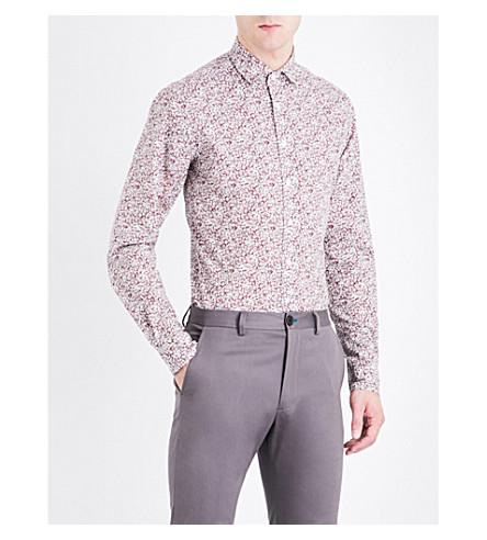DUCHAMP LONDON Elegant floral-print tailored-fit cotton shirt (Burgundy