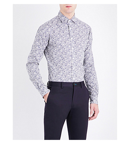 DUCHAMP Elegant floral-print tailored-fit cotton shirt (Navy