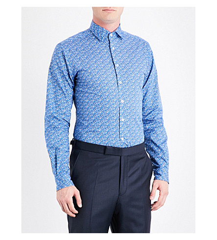 DUCHAMP Floral tailored-fit cotton shirt (Blue