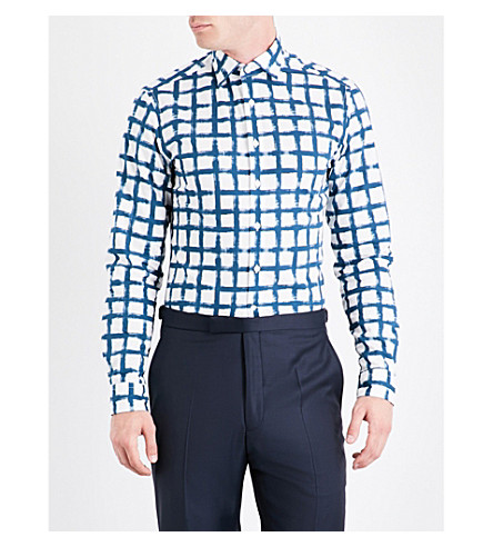 DUCHAMP Hand-painted checked slim-fit cotton shirt (Blue