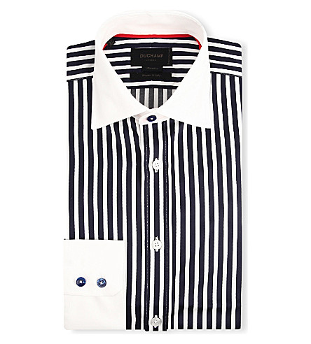 DUCHAMP Striped tailored-fit shirt (Smalt