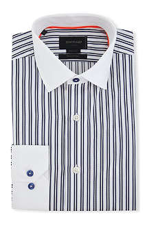 DUCHAMP Contrast-collar tailored-fit single-cuff shirt