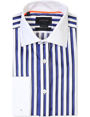 DUCHAMP Tailored-fit striped double-cuff shirt
