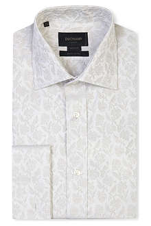 DUCHAMP Tailored-fit jacquard floral double-cuff shirt