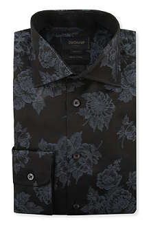 DUCHAMP Floral-jacquard single-cuff shirt