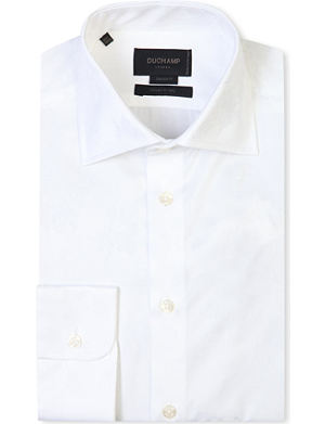 DUCHAMP Floral-jacquard single-cuff shirt