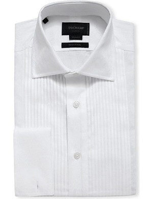 DUCHAMP Pleated-bib floral-jacquard double-cuff shirt